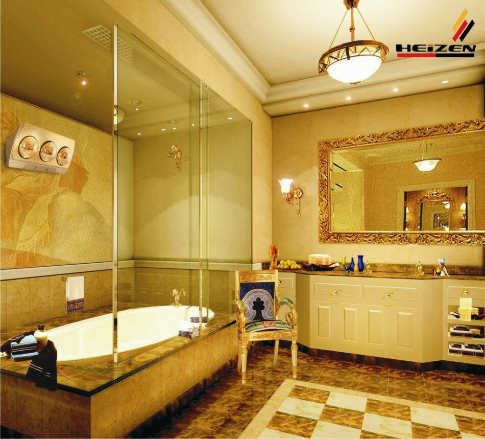 Đèn sưởi nhà tắm heizen 3 bóng vàng 10 năm phối cảnh